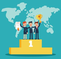 Successful, smiling, young, happy businessmen and business woman standing on the winning podium holding up winning trophy and showing an award certificate. Partnership and teamwork in business concept
