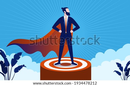 Successful superhero leader on podium, standing proud and strong. Business management and boss concept. Vector illustration.