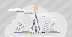 Successful team achievement as precise and effective work tiny person concept. Performance and teamwork done together in collaboration process vector illustration. Reached common group target goal.