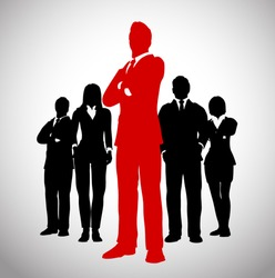 Successful Team Leader. A team of Successful executives led by a great and leader.