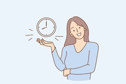 Successful time management and alarm concept. Young smiling woman cartoon character standing showing alarm clock with eight hours time on it vector illustration