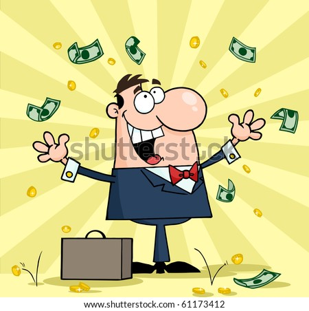 Successful White Businessman Standing Under Falling Money