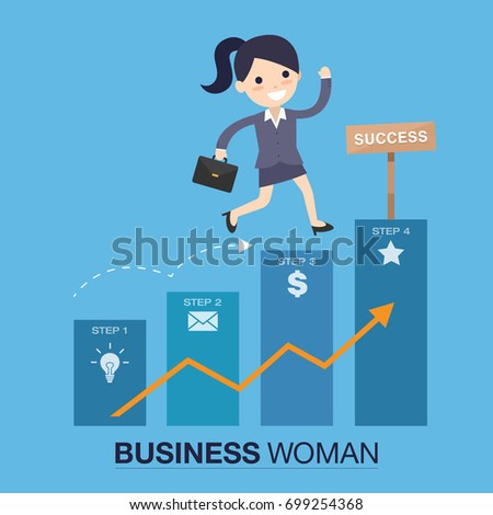 successful woman - business woman success chart vector