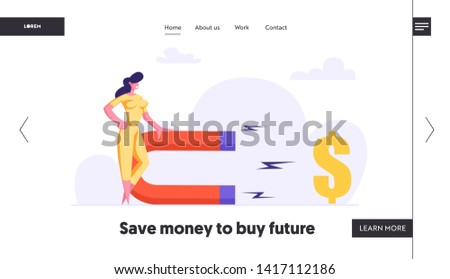 Successful Woman with Big Magnet Attract Money Web Page. Business Solution Strategy with Businesswoman Attracting Investments Concept Landing Page Banner. Vector flat illustration