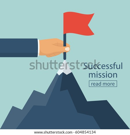 Successfull mission. Standing with red flag on mountain peak. Goal achievement. Put a red flag on mountain peak, symbol of victory. Vector illustration flat. Isolated on background. Business concept.