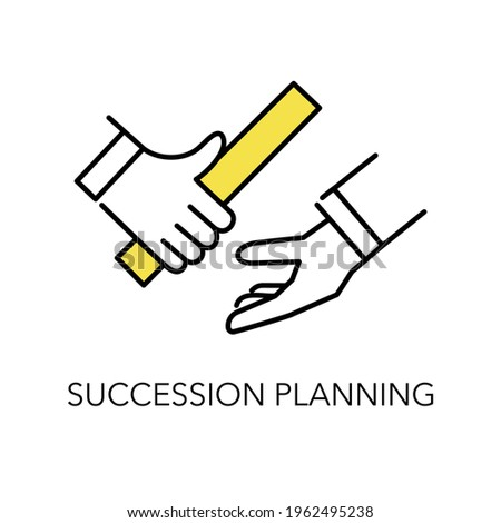 Succession planning image icon,passing the baton,simple illustration,white isolated Foto d'archivio ©
