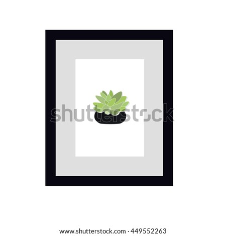Succulent and cactus  in frame .Decorative houseplant. Vector illustration.