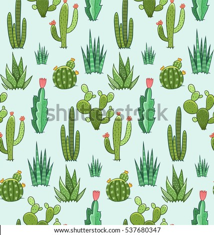 succulent and cactus seamless