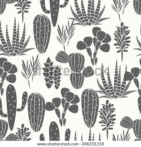 succulents cacti plant vector...