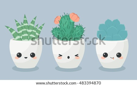 Succulents in kawaii faces flower pots. Vector illustration.