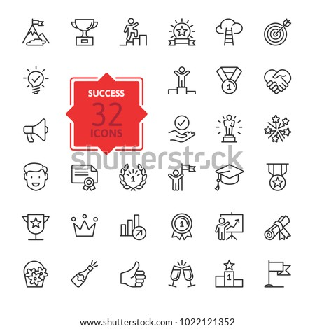 Sucsess, awards, achievment elements - minimal thin line web icon set. Outline icons collection. Simple vector illustration.