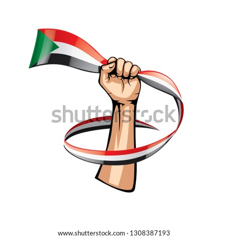 Sudan flag and hand on white background. Vector illustration