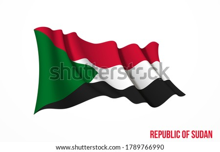 Sudan flag state symbol isolated on background national banner. Greeting card National Independence Day of the Republic of the Sudan. Illustration banner with realistic state flag.