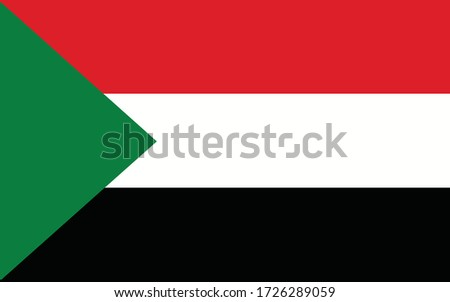 Sudan flag vector graphic. Rectangle Sudanese flag illustration. Sudan country flag is a symbol of freedom, patriotism and independence.
