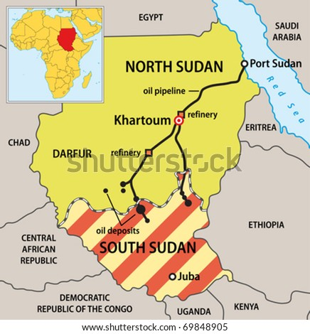 Sudan political map with new borders. Vector illustration of actual political situation in Sudan, Africa, January 2011. Data source: CIA The World Factbook. Map is my own work.