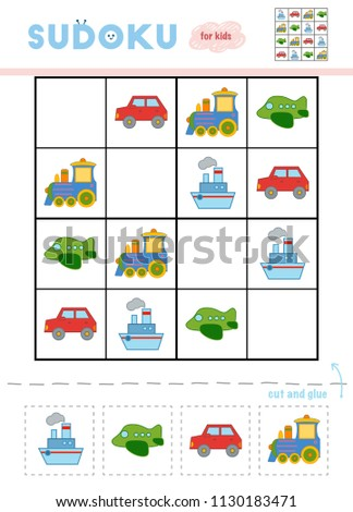 Sudoku for children, education game. Cartoon set of transport objects - Car, Airplane, Steamship, and Train. Use scissors and glue to fill the missing elements