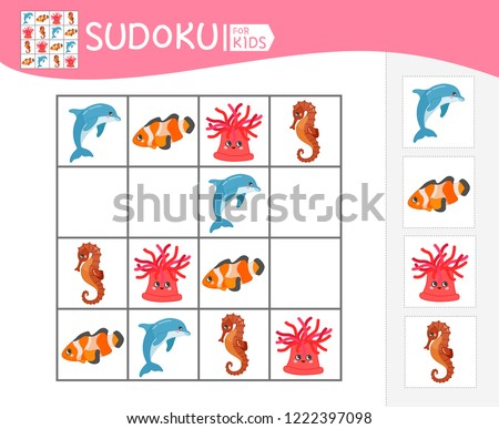 Sudoku game for children with pictures. Kids activity sheet.  Cartoon sea animals.