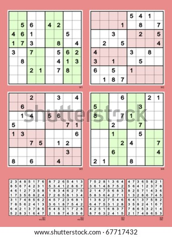 Sudoku with the 8x8 grid. Symmetrical. Very easy and easy. 26, 24, 22, 20 clues. Vector set.