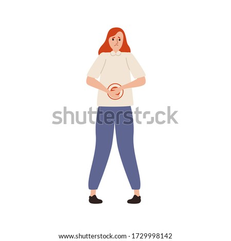 Suffer woman with painful expression having abdominal ache vector flat illustration. Unhappy female feeling stomach pain isolated on white. Sad girl with belly disorder and sickness problem
