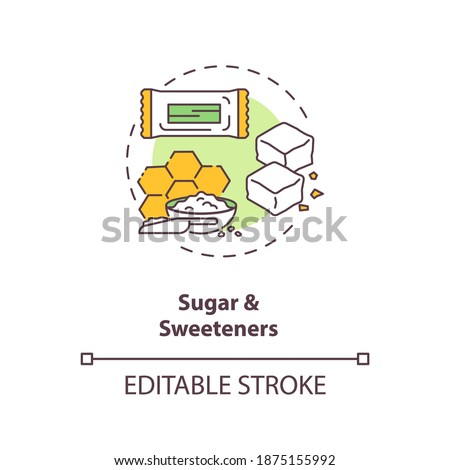 Sugar and sweeteners concept icon. Diet energy drinks idea thin line illustration. Zero calories artificial sweeteners. Calorie-free. Vector isolated outline RGB color drawing. Editable stroke