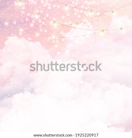 Sugar cotton pink clouds vector design background. Glamour fairytale backdrop. Bokeh lights with stars and sunset. Watercolor style texture. Delicate card. Elegant decoration. Fantasy pastel color