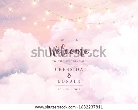 Sugar cotton pink clouds vector design background. Glamour fairytale backdrop. Plane sky view with stars and lamps. Watercolor style texture. Delicate card. Elegant decoration. Fantasy pastel color