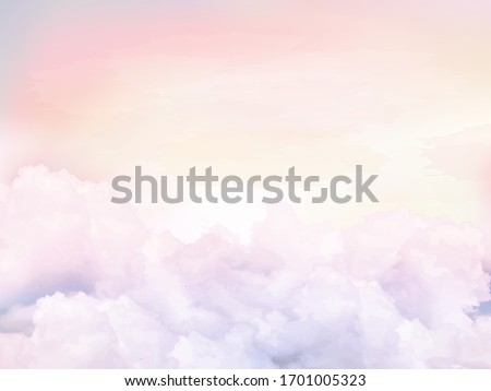 Sugar cotton pink clouds vector design background. Glamour fairytale backdrop. Plane sky view with stars and sunset. Watercolor style texture. Delicate card. Elegant decoration. Fantasy pastel color Stockfoto ©