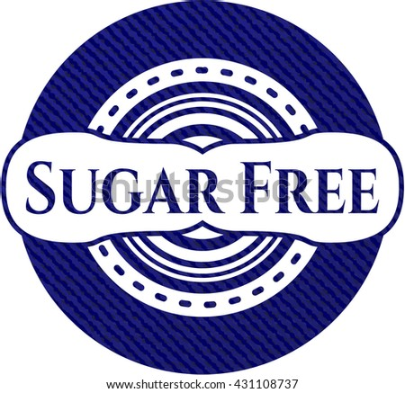 Sugar Free badge with jean texture