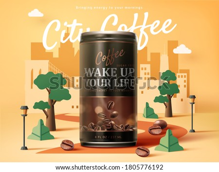 Sugar free black coffee ad design in 3d illustration over an urban city paper art design background