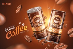 Sugar free black coffee promo design in 3d illustration with roasted coffee beans flying on brown background