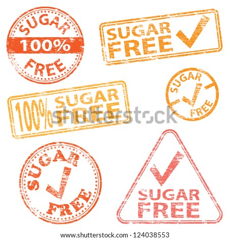 Sugar free food. Rubber stamp vector illustrations