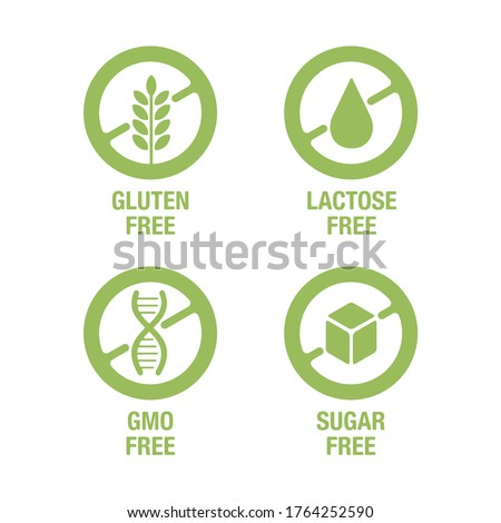 Sugar free, Gluten free, Lactose free, GMO free - set of vector attention marks - food cover decoration element for healthy natural organic nutrition