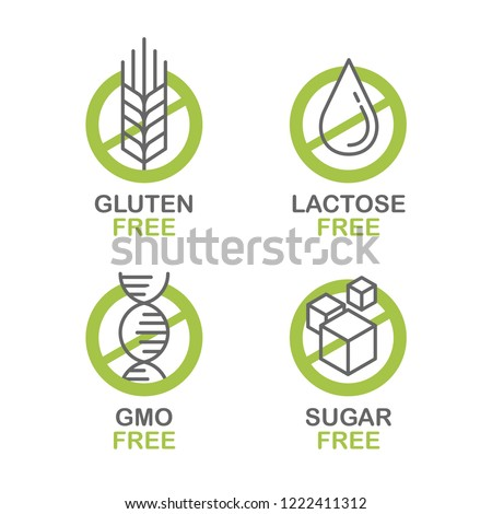 Sugar free, Gluten free, Lactose free, GMO free - set of vector attention tags - food cover decoration element for healthy natural organic nutrition