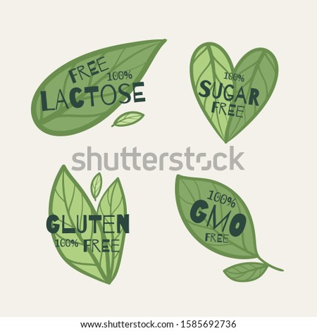 Sugar free, lactose free, gluten free, gmo free  text with green eco leaves.  Eco green illustration. Ecology concept.