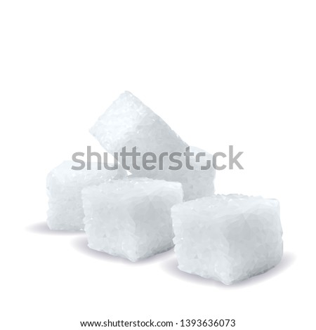 Sugar low poly. Sweet, nutritious, tasty sugar. Refined sugar vector. Refined sugar in triangulation technique. Vector illustration.
