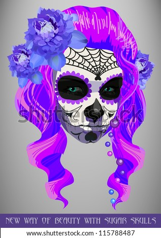 Sugar pink skull girl face day of the dead