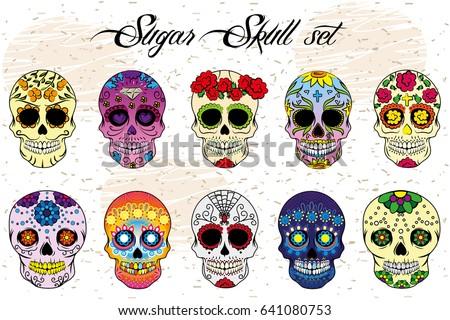 sugar skull bright colored set