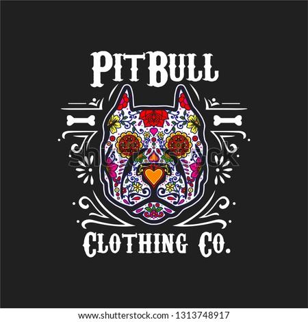 sugar skull dog pit bull dia de los muertos day of the dead colorful vector design illustration