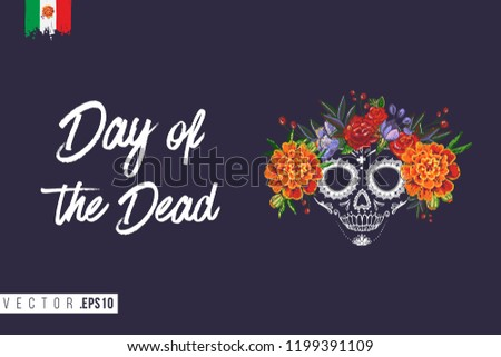 Sugar Skull For Day Of The Dead Halloween Celebration Traditional Mexican Autumn Festival Invitation