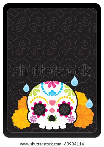 Sugar skull from Day of the Death. Cool Vector Style. Banner.