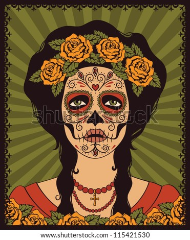 Sugar Skull Girl Stock Vector Illustration 115421530 : Shutterstock