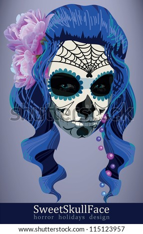 Sugar skull girl face day of the dead