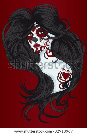 Sugar Skull Girl or Calavera Catrina with face paint for Day of the ...