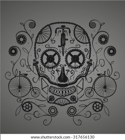 sugar skull made with bicycles