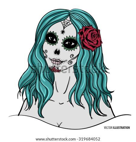 sugar-skull-makeup-sugar-skull-woman-day-of-the-dead-skull-vector-day ...