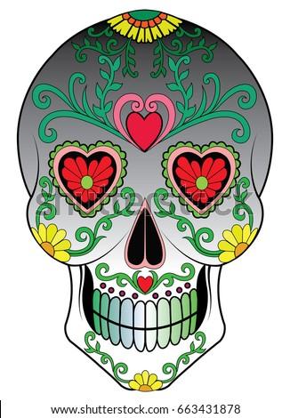 sugar skull vector hand