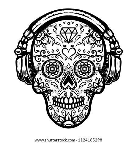 sugar skull with headphones