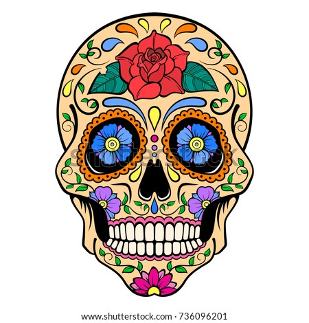 sugar skull with red rose