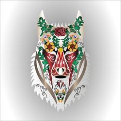 sugar skull wolf on a white background
