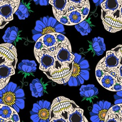 Sugar skulls and blue flowers. Seamless vector pattern on a black background.